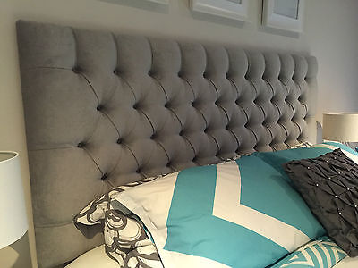 Bed Head Queen Size Diamond Pleated Buttoned Upholstered Bedhead /headboard