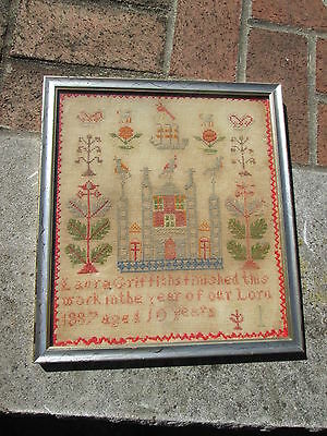 Antique 19Th C Needlework Sampler Laura Griffiths Aged 10 Years 1887 Framed Old