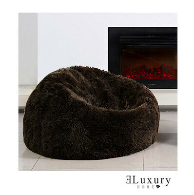 Brown Merino Sheepskin Real Fur Bean Bag Cover Chocolate Shaggy Wool