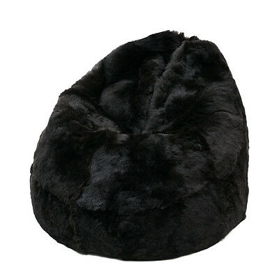 Black Icelandic Sheepskin Shaggy Fur Bean Bag Cover Real Short Wool Shorn