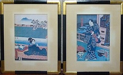 2 RARE JAPANESE MAN AND WOMAN WOOD BLOCK PRINTS WITH BLACK AND GOLD FRAMED 16x20