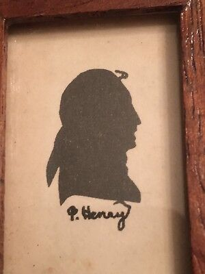 Antique miniature painted silhouette possibly Patrick Henry in wood frame