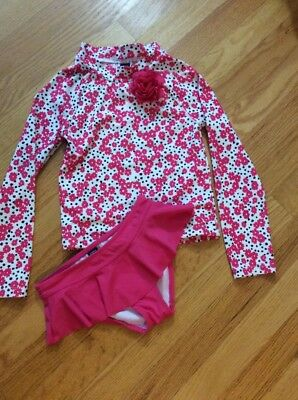 Janie And Jack Girl Two Piece Pink Floral Swimsuit, Size 5