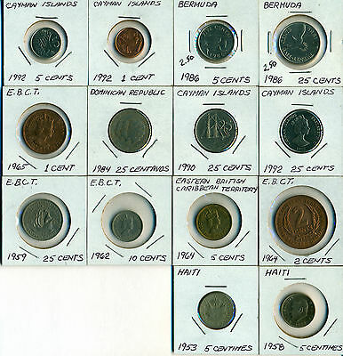 14 Coin Lot Of Central America Mostly Uncirculated Bermuda, Cayman Island