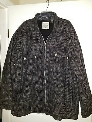 Raw Edge 100% Cotton Zip Front Quilted Jacket Mens Size Xl