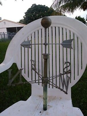 RARE NEW ENGLAND Antique TIN & LEAD Arrow  Weathervane FOLK ART -MUST READ L@@K!