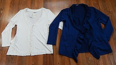 LOT 2 Womens Size XL Cardigan Jacket NWT Christopher & Banks Cream Lilla P Navy