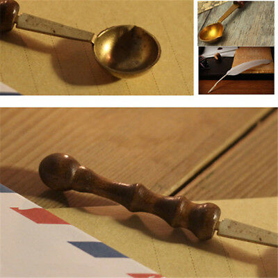 GUT 1X Brass Spoon Melting Wax Candle Granual Sealing Envelope Seal Stamp Craft
