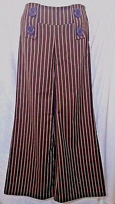 Bell Bottom Pants Vintage 70's Brown Striped Retro Disco Mod Flares Side Zip