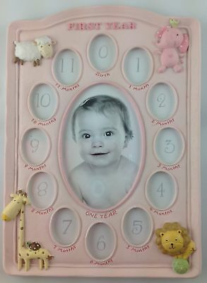 Le Pastille Pink First Year Photo Frame Collage Baby / Christening Birthday Gift