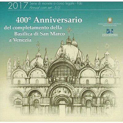 2017 Italy 9-Coin EURO BU Set w. 2 Euro St. Mark's Basilica in Venice 400 Years