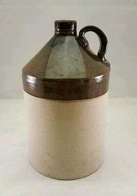 BIG ANTIQUE SALT GLAZED STONEWARE KENTUCKY WHISKEY JUG Two Tone Primitive