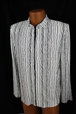 ALEX Evenings White Black SilverThreading Cocktail Party Formal Jacket Womans XL