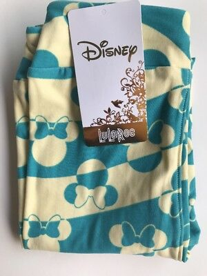 LuLaRoe Kids Disney Leggings L/XL Teal And Yellow Minnie Mouse NWT