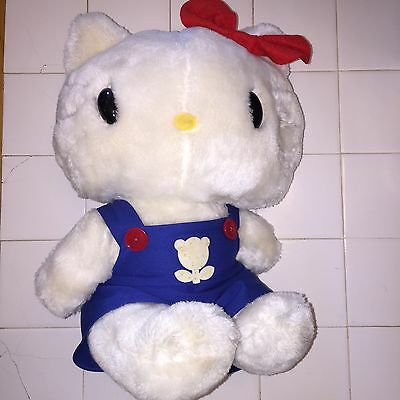 """Hello Kitty 1983 by Child Guidance CBS 15"""" Plush Blue Overalls And Red Bow"""