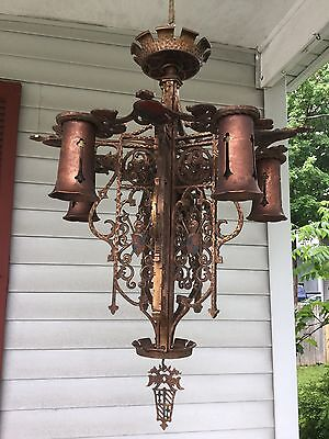 Antique Arts & Crafts Gothic Revival Bronze Chandelier Griffins Knight