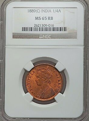 1889 India 1/4 Anna NGC MS 65 RB