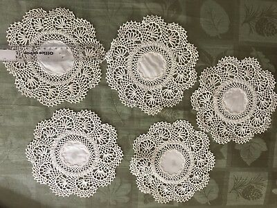 Vintage Hand Crocheted Doilies And Napkin Rings