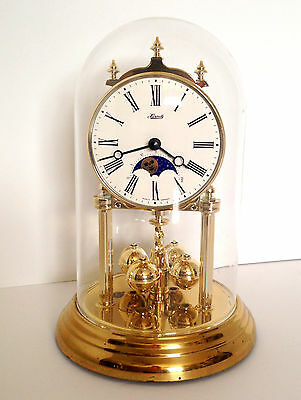 Hermle Quartz Glass Dome Mantle Clock Made In Germany Brass Chime Sun Moon