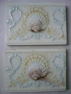 Antique Victorian Pair Providential Tile Works Majolica Shell Tiles