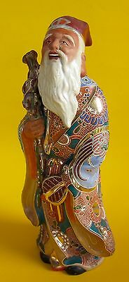 Antique JUROJIN Taoist God of Longevity KUTANI MORIAGE OKIMONO FIGURINE Pottery
