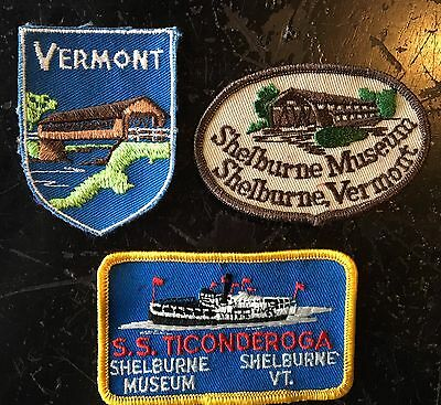 (3) Vintage Vermont Patches Shelburne Museum Covered Bridge S.S. Ticonderoga