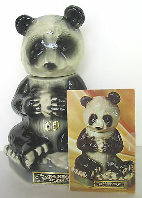 Panda Bear Genuine Heritage China Ezra Brooks 1972 Decanter + Brochure Postcard