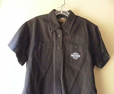 Harley Davidson Motorcycles Button Front Solid Black Short Sleeve Cotton Shirt
