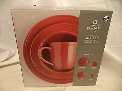 Jcpenney Home Collection Stoneware 4 Pc Dinnerware Set Red New Box