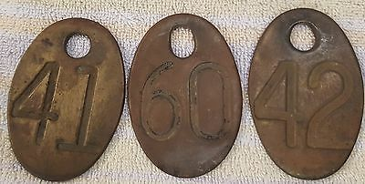 3 Vintage Brass Cow Cattle Number  Identification Tags