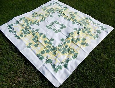 """Vintage Tablecloth Green Ivy Motif on White Background & Yellow 50 1/2""""x47"""""""