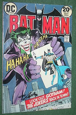 Batman #251 DC Comics Bronze age Key JOKER cover art & SIGNED by NEAL ADAMS! vgf