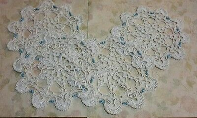 """Crochet Doilies Set of 4, White With  Glass Beads Size 10 Cotton 7 1/2"""" Wide"""