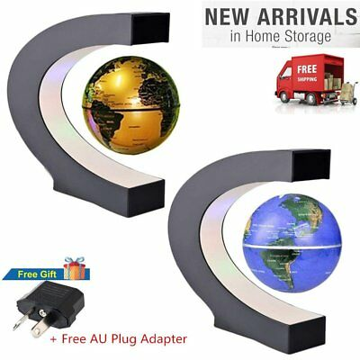 C Shape LED World Map Decoration Magnetic Levitation Floating Globe Light AU@