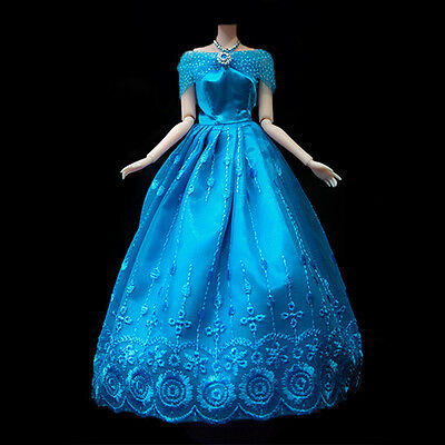 Fashion Princess Party Dress/Evening Clothes/Gown For Barbie Doll Gifts Blue Hot