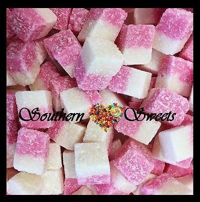 Coconut Ice Cubes 800G Pink & White Lollies Soft Made In Australia