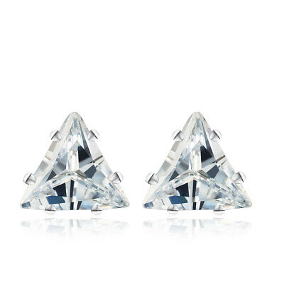 Unique Womens Mens Triangle CZ White Gold Filled small stud Earrings Jewelry