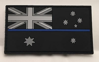 Thin Blue Line Rubber / PVC Patch, Australian, Flag, Hook, Black, Police, TBL