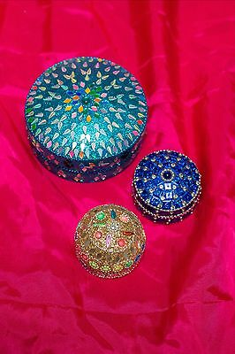 Trio of Trinklet Box Tin from India - Jeweled Sequins