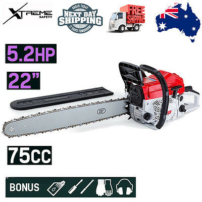 "Baumr-AG Chainsaw Commercial 22"" Tree Pruning Easy Start Pro 75cc Petrol"