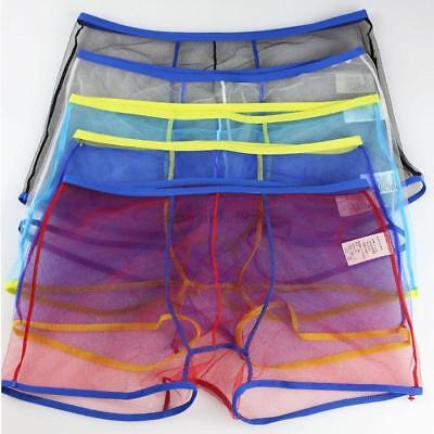Homme Sexy Breathable Transparent Tulle Briefs Underwear Bulge Pouch Short Trunk