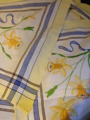 Vintage Daffodils hand embroidered Cotton square tablecloth . 112 x 105 cm
