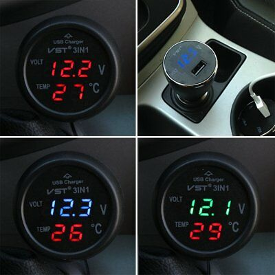 Digital LED Car Voltmeter Meter Panel 12V LCD Display Thermometer USB Charger AU