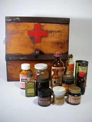 Antique Rustic Wooden Red Cross Chemist Medical First Aid Cabinet With Bottles