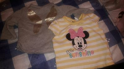 minne mouse t-shirt and a grey butterfly jumper 0-3 months