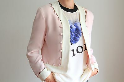 MOSCHINO CHEAP & CHIC Pink Cream Buttoned Jacket Coat Blazer-Vintage 1990's
