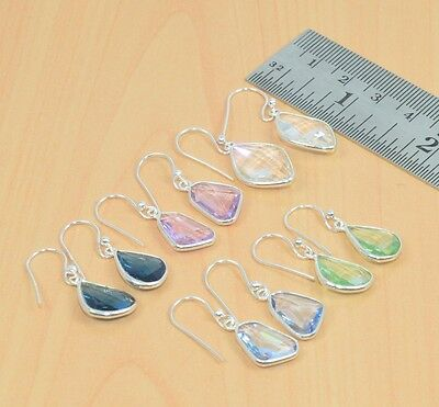 Wholesale 5Pc 925 Solid Sterling Silver Pink Quartz & Mix Stone Hook Earring Lot