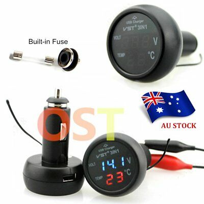 3in1 2.1A Digital LED USB Car Charger Voltmeter Thermometer Battery Monitor AUIB