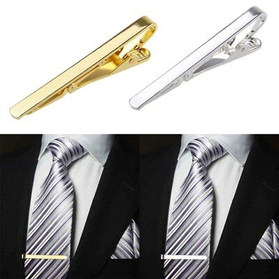 Mens 5.5CM Slide On Tie Bar - Stainless Steel Clasp - Pin Wedding Clip Gift Pins