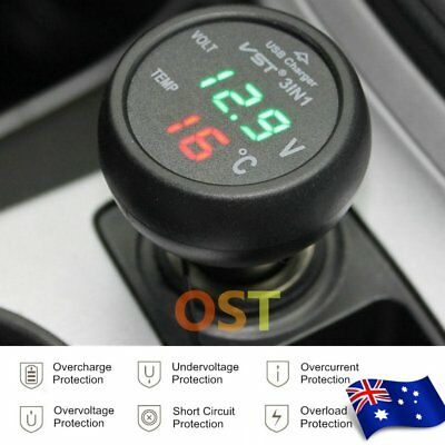 3in1 Digital LED USB Car Charger Voltmeter Thermometer Battery Monitor GreenLCD.
